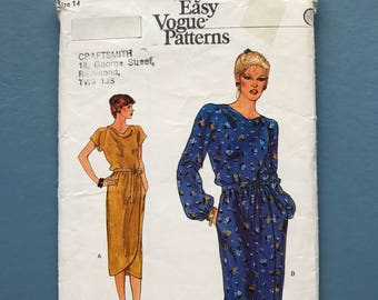 Vogue 7541 vintage retro 1980's sewing pattern for calf length, wrap front, cowl neck dress, very easy, size 14 bust 92cm