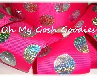 "SUPER DOTS Silver Hologram SHOCKING Pink Grosgrain Tic Toc Cheer Ribbon - 3""  - 5 Yards - Oh My Gosh Goodies Ribbon"