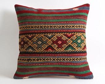 20x20 bohemian handmade pillow, kilim pillow cover, vintage kilim pillow 20x20 inch