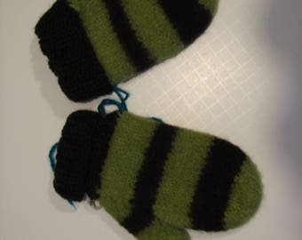Hand knit Felted Child's Mittens