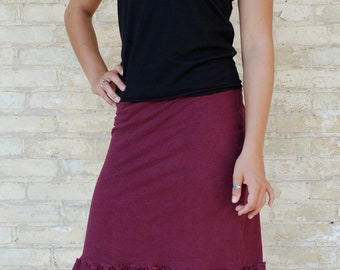 Pencil Midi Skirt with Ruffle Trim - Hemp & Organic Cotton Lycra Jersey - Custom Made