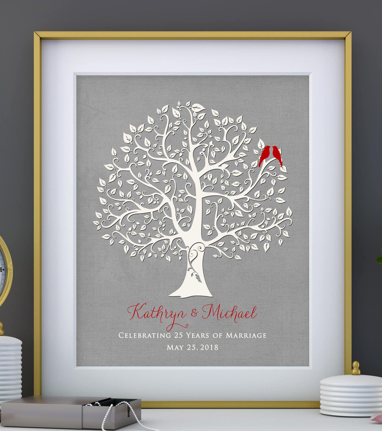 25th Wedding Anniversary Gifts: 25th Silver Wedding Anniversary Tree Gift Anniversary Gift