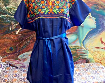Mexican Blouse, Embroidered Blouse, Blue Blouse, Frida Kahlo, size XL