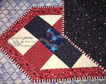 Patriotic Theme Pieced &  Quilted Tablerunner -- Pieced, Quilted, Patriotic, Red White and Blue, July 4th