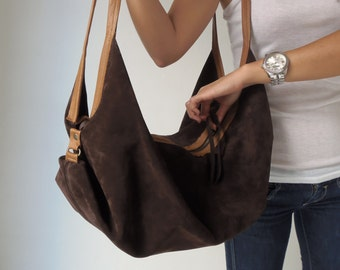 Leather Shoulder  bag- Soft leather bag - Slouchy leather bag -  DeLuna