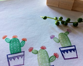 Cactus rubber stamp set // hand carved rubber stamps//hand crafted