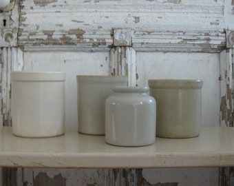 Vintage stoneware crocks, ceramic pot, set of 4, whites, Made in France, farmhouse decor, vintage kitchen, farmhouse wedding decor