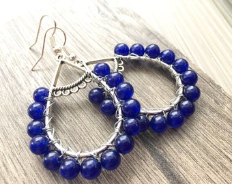 Boho Vibe Blue Gemstone Dangle Earrings