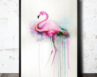 A3 Flamingo print art printable. Download JPG file in high quality. Flamingo printing poster to print yourself. Lamina Flamenco imprimible