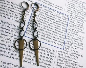 Long Brass Spike Earrings - Antiqued Brass Dangle Earrings - Chain Earrings (Ready to Ship)