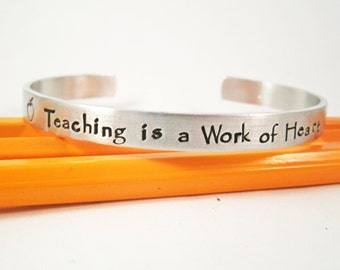 Teacher Appreciation Bracelet  - Teacher Gift - Teacher Year End Gift -  Hand Stamped - Teacher Appreciation - Teacher Cuff
