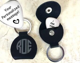 Custom guitar pick keychain • 11th anniversary • personalized guitar pick • steel anniversary • engraved guitar pick • pick • musician