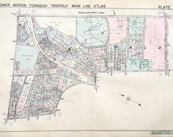 Original Main Line Atlas Map of Lower Merion Township Montgomery County Pennsylvania Bala Cynwyd Philadelphia Narberth Manayunk
