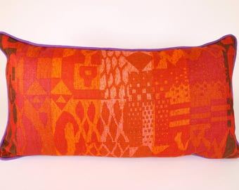 Decorative Throw Pillow in Vintage Screen Printed Linen