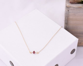 Dainty Ruby Necklace / Simple Ruby Necklace / Delicate Gemstone Necklace / Ruby Jewelry / Layering Necklace / July Birthstone
