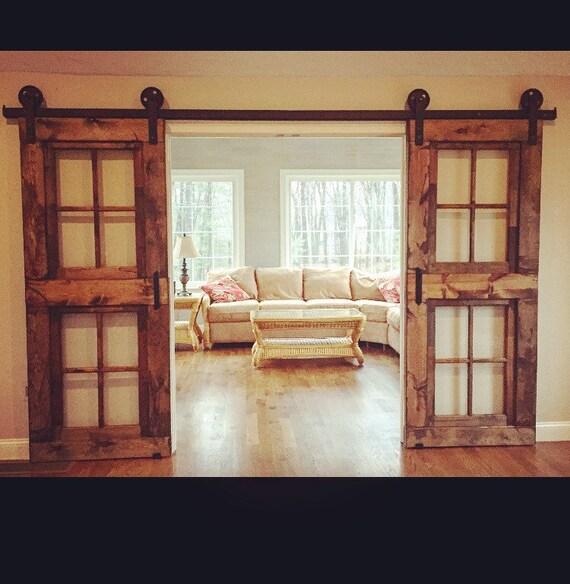 Custom french window barn doors price is for one door