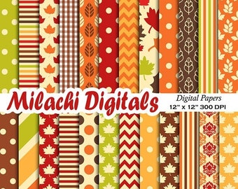 60% OFF SALE Fall digital paper, Thanksgiving scrapbook papers, leaf wallpaper, autumn background - M566