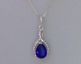 Sapphire Bridal Necklace, Blue Wedding Necklace, Bridal Jewelry, Something Blue, Bridesmaids Necklace,  RIBBON
