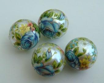 4 Shiny pearl blue rose floral Japanese tensha acrylic beads