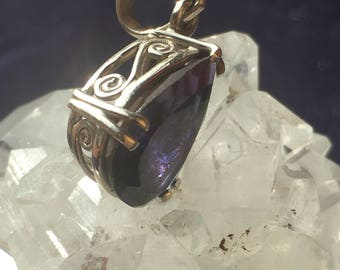 IOLITE Faceted Drop Pendant -
