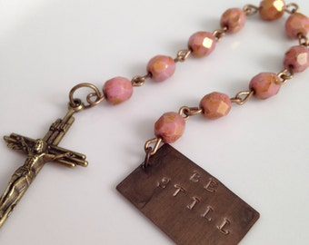 Prayer Beads, Decade Rosary, Be Still, Meditation Beads, Crucifix, Custom Stamped Message, Pray, Meditate, Unique Gift, Christian, Beaded