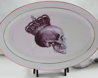 """Gold Skull Platter, 14"""", Skull Dinnerware, Skull Dishes, Steampunk Platter, Gold Platter, Goth Platter, Skeleton Platter"""
