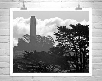 Coit Tower Picture, San Francisco Photograph, Coit Tower Art, San Francisco Art, Black and White Art, San Francisco Gift, California Gift