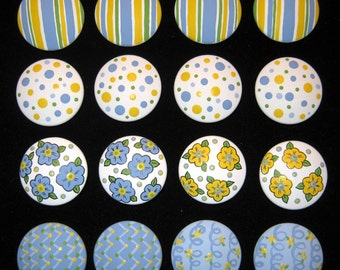 Set of 16 - PERIWINKLE BLUE and YELLOW Stripes, Flowers, Polka Dots and more -  Dresser Knobs