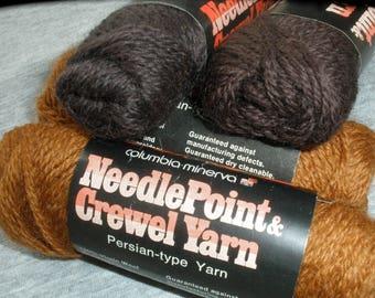 Columbia-Minerva Needlepoint & Crewel Yarn Persian Wool Needlepoint 3ply 25 yard skeins 410 Dark Copper 115 Very Dark Special Brown