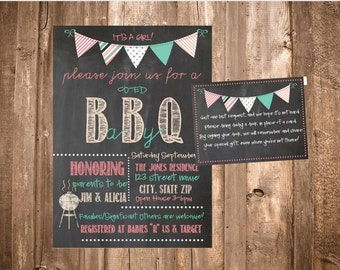 Printable BBQ Baby Shower Invite-Chalkboard BBQ Invitation-Book Instead of Card