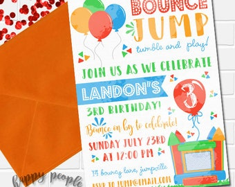 Bounce House Invitation, Bounce House Birthday, Bouncy House Party, Jump Invitation, Printable Bounce House Invite, Boys Inflatable Invite