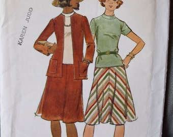 1970's Butterick 4350 Vintage Sewing Pattern Cardigan Jacket and Low Waist Dress UNCUT Size 12 Bust 34