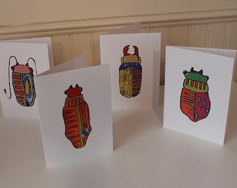 Bug Cards Set No. 2, Greeting Cards and envelopes, Set of Cards, Blank Inside, Note Cards, All Occasion