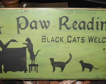 Paw Readings Witch Primitive Wood Sign Halloween Cats Cat Kitten Wall  Hanging Home Decor WICCAN Plaque