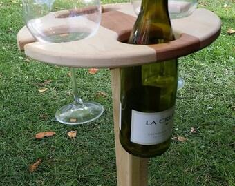 Folding picnic wine table