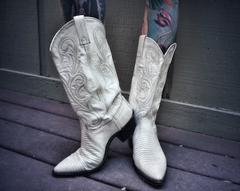 White cowboy boots dan post 8 8.5