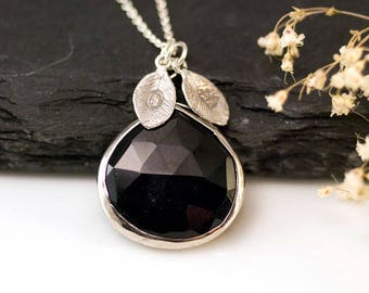 Black Stone Pendant Sterling Silver, Handmade Necklace, Stamped Initial Leaves, Custom Name Necklace, Gemstone Jewelry, Gift Ideas for Wife
