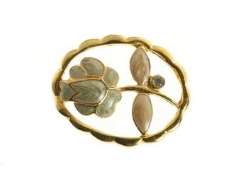 Gold Plated Enamel Flower Brooch
