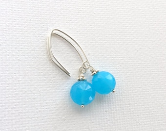 Turquoise Blue Chalcedony Earrings WIth Sterling Silver