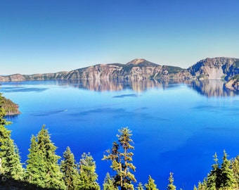 Blue Lake View photo, HDR photograph, Blue, green, tan, and brown, panoramic fine photography print, What a View