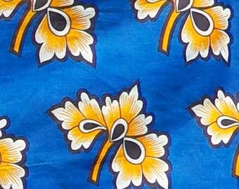 Blue patterned kanga material from Tanzania