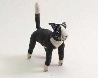 Vintage Style Spun Cotton Black and White Tuxedo Cat Figure/Ornament (MADE TO ORDER)