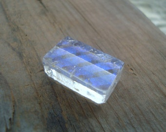 Handmade Clear Dichroic Glass Bead With Iridescent Blue Bands