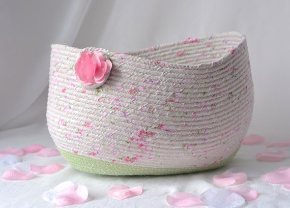 Pink Coiled Basket, Handmade Gift Basket, Shabby Chic Decor, Gift Basket, Storage Basket, Decorative Floral Home Decor