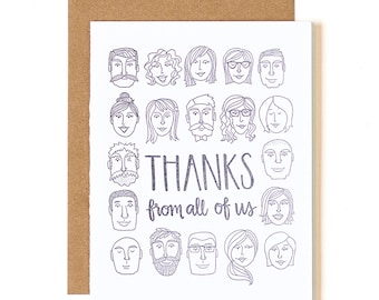 Thanks From All of Us Letterpress Card // 1canoe2