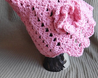 Rose Pink Pixie Shell Hat, Cotton Hat with Flower, Pink