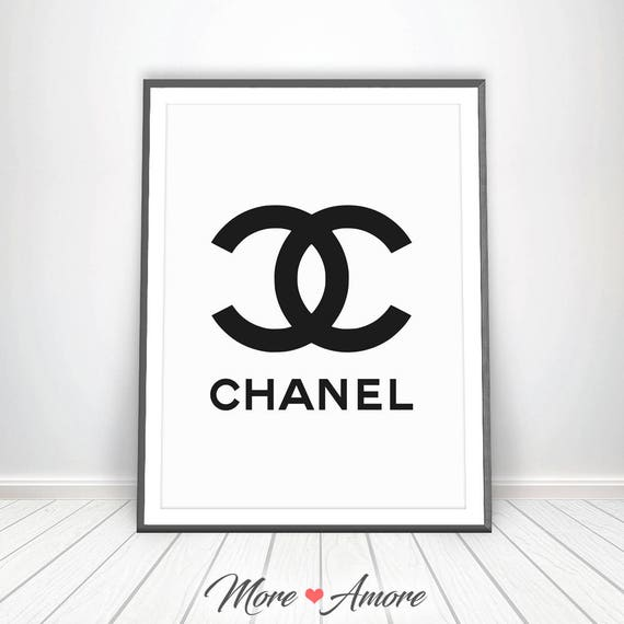chanel logo chanel art print fashion wall decor chanel decor