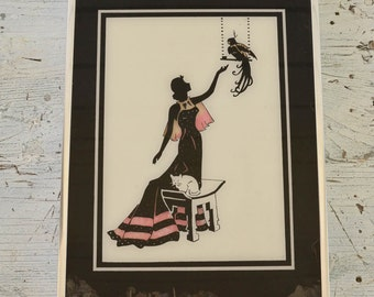 Art Deco Silhouette, Cat and Parrot Art, Reverse Painted Silhouette,  Pink and Black Wall Art, Art Deco Wall Art