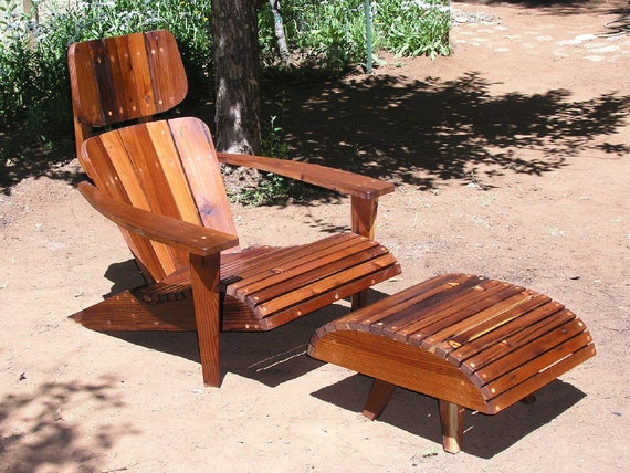 Mid Century Modern Adirondack Chair Reclaimed Redwood