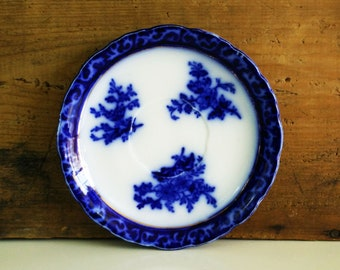 Touraine Flow Blue Saucer from Stanley Pottery England